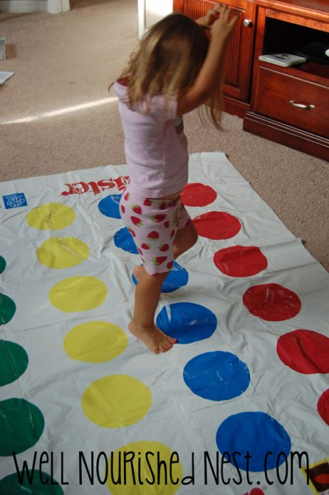 Teaching Gross Motor Skills to your toddler, A fun way to play Twister with your little ones!